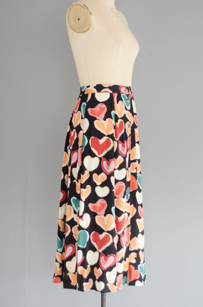vintage 1990s heart print rayon midi skirt 90s nineties classic long small medium concettas closet nh new hampshire 2
