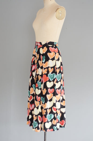 vintage 1990s heart print rayon midi skirt 90s nineties classic long small medium concettas closet nh new hampshire 3
