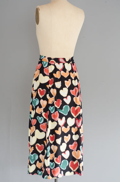 vintage 1990s heart print rayon midi skirt 90s nineties classic long small medium concettas closet nh new hampshire 4