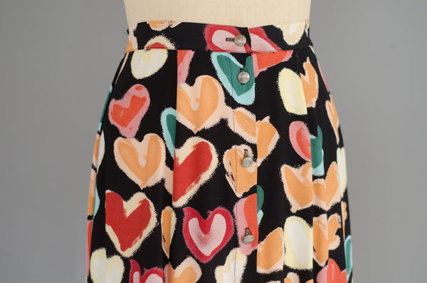vintage 1990s heart print rayon midi skirt 90s nineties classic long small medium concettas closet nh new hampshire 1