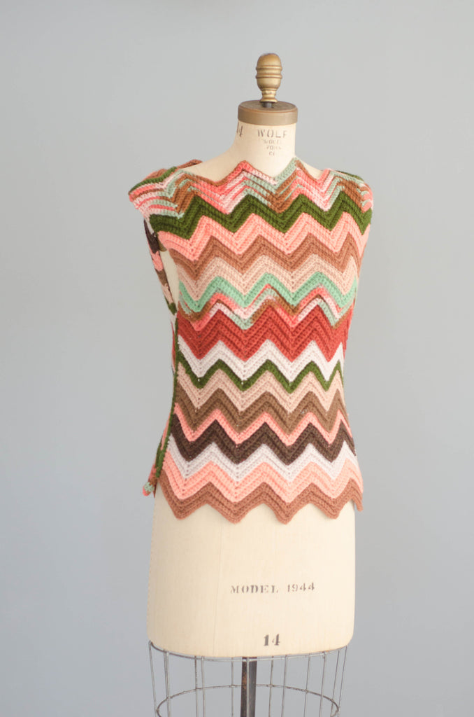 1970's Knit Chevron Tunic Sweater