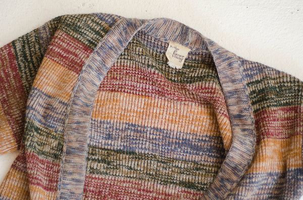 1970s striped space dyed knit cardigan preppy hipster seventies 70s medium large long sleeve fall fashion sweater concettas closet portsmouth nh new hampshire 3