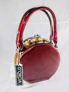 Round Patent Leather Rhinestone Purse