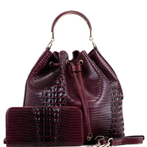Vegan 2-Way Crocodile  Drawstring Bucket Satchel with Wallet