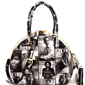 Michelle Obama Oval 2 n 1 Rhinestone  Purse