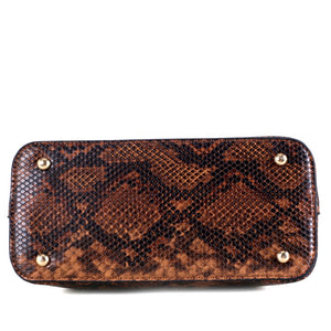 Tassel Accent Snake Print 3 Compartment