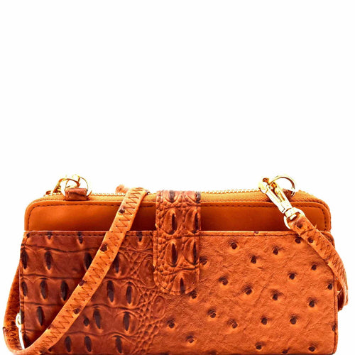 Ostrich Print Cellphone Holder Wallet Cross Body