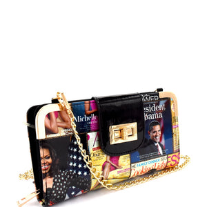 Magazine Multi Compartment Wallet with Chain
