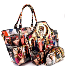 Magazine 3 n 1 Handle Satchel Tote Set 2(Multi)