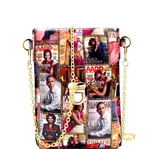 Magazine Print Push-Lock Cellphone Holder Cross Body (Multi)