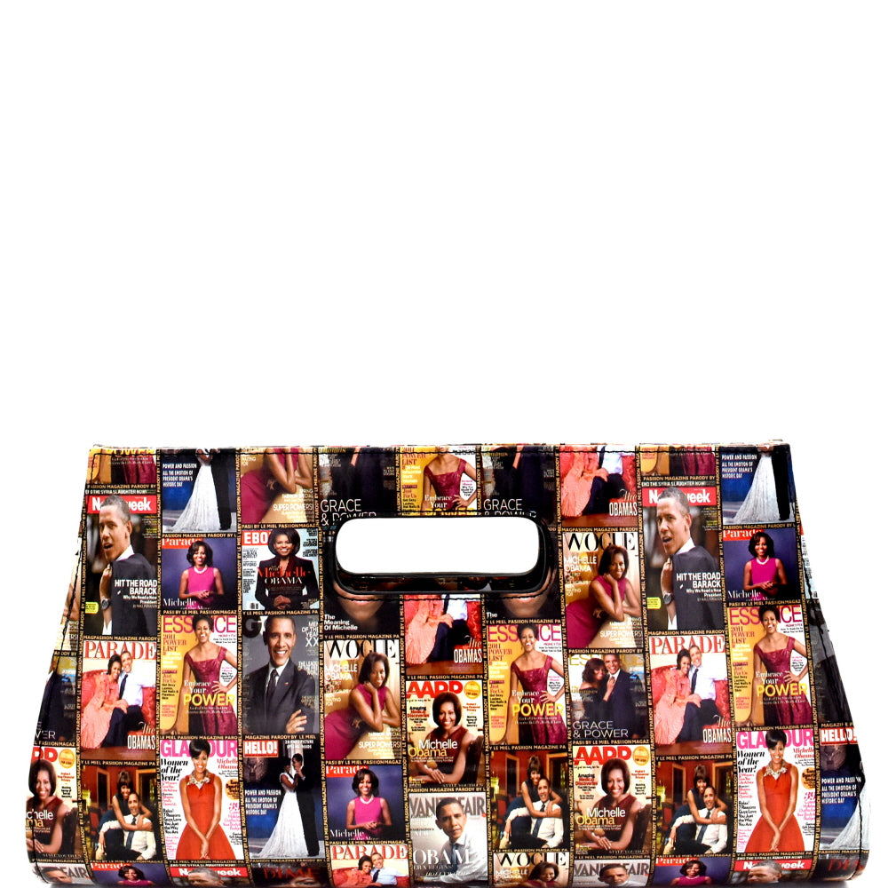 Magazine Print Clutch Bag