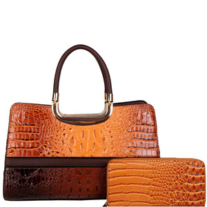 Top Handle Crocodile Satchel Wallet Set