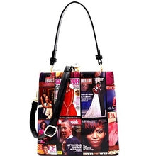 Magazine Print Patent Jewel-Top Frame 2- way Satchel