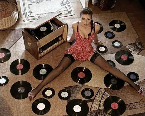 hot girl with vinyl records