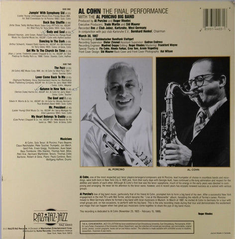 Al Cohn / The Final Performance Volume One