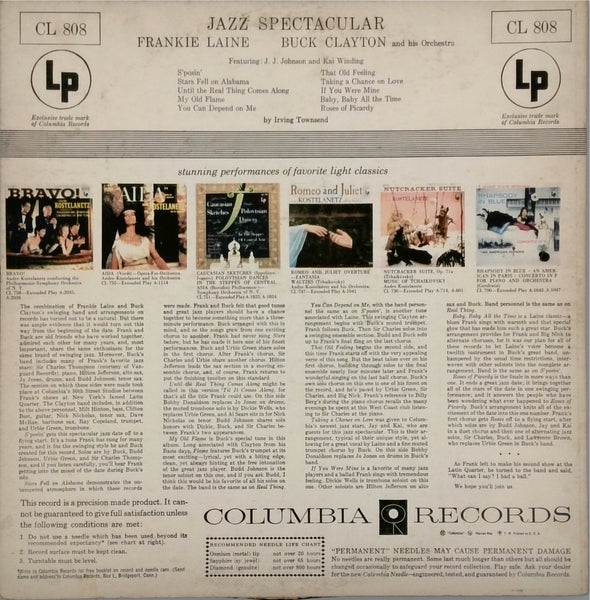 Frankie Laine And Buck Clayton And His Orchestra Featuring J. J. Johnson* And Kai Winding Jazz Spectacular