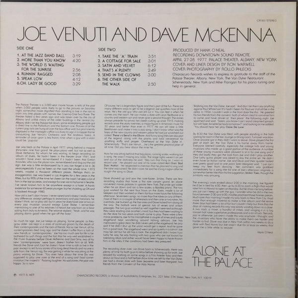 Joe Venuti and Dave McKenna <BR>Alone At The Palace