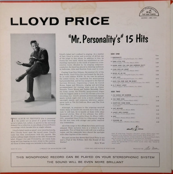 Lloyd Price <BR>Mr. Personality'S 15 Hits