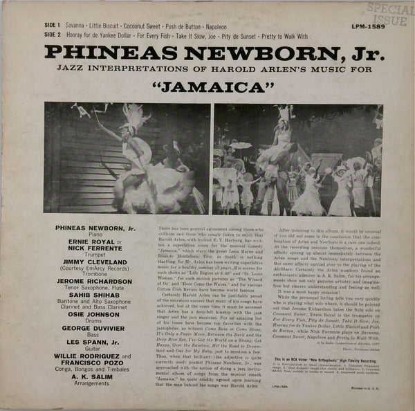 Phineas Newborn Jr. <BR>Plays Harold Arlen'S Music From Jamaica