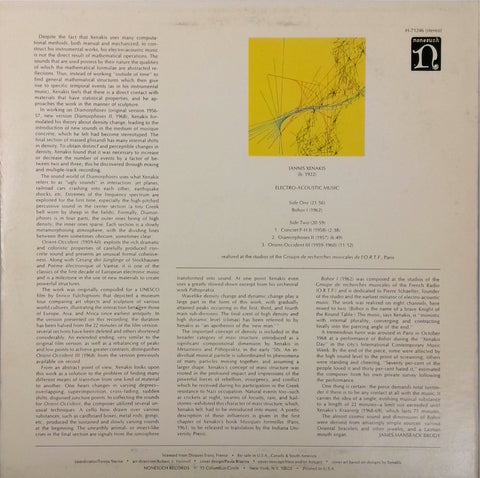 Iannis Xenakis <BR>Electro-Acoustic Music