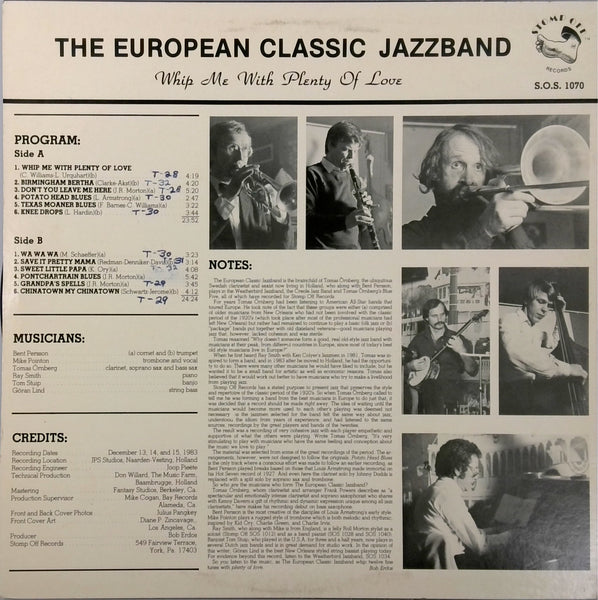 THE EUROPEAN CLASSIC JAZZBAND <BR>WHIP ME WITH PLENTY OF LOVE