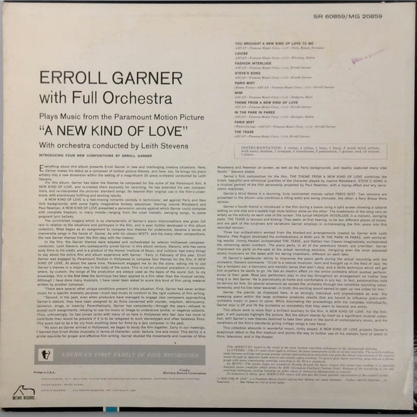 ERROLL GARNER <BR>A NEW KIND OF LOVE