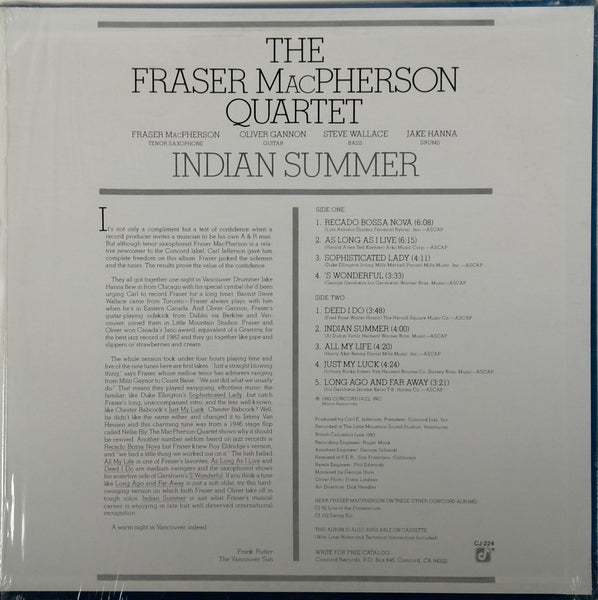 THE FRASER MACPHERSON QUARTET <BR>INDIAN SUMMER