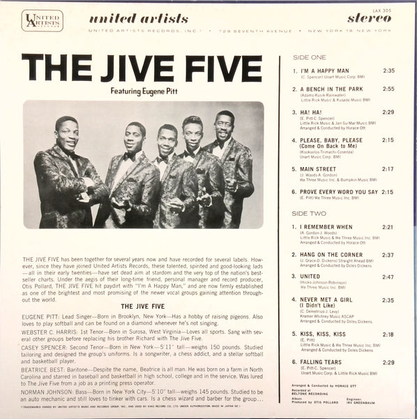 THE JIVE FIVE <BR>I'M A HAPPY MAN