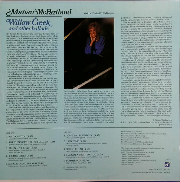 MARIAN MCPARTLAND <BR>WILLOW CREED AND OTHER BALLADS