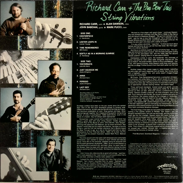 RICHARD CARR AND THE PRO-BOW TRIO <BR>STRING VIBRATIONS