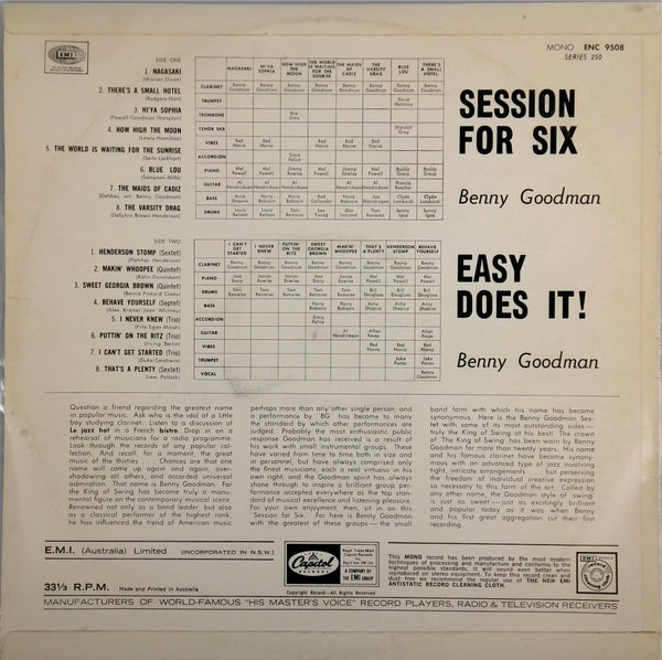 BENNY GOODMAN <BR> SESSION FOR SIX / EASY DOES IT