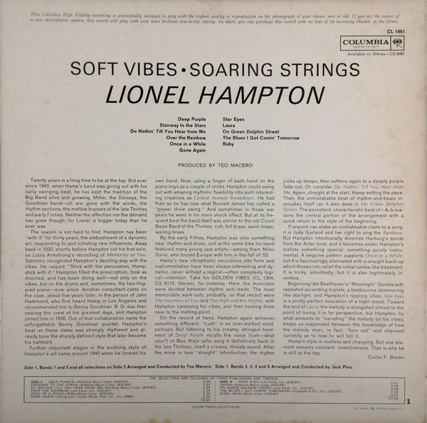 LIONEL HAMPTON <BR>SOFT VIBES, SOARING STRINGS