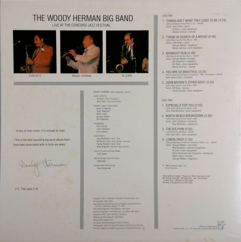 THE WOODY HERMAN BIG BAND <BR>LIVE AT THE CONCORD JAZZ FESTIVAL
