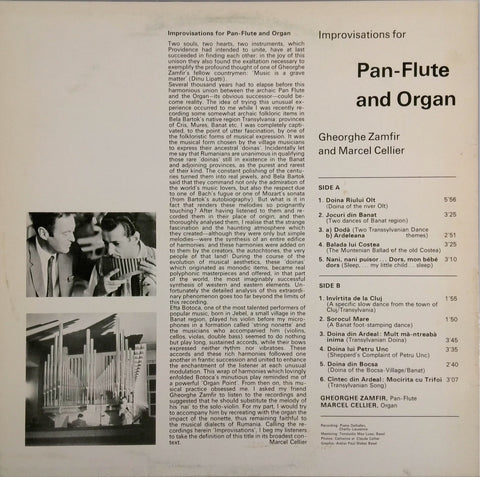 GHEORGHE ZAMFIR AND MARCEL CELLIER <BR>PAN-FLUTE AND ORGAN