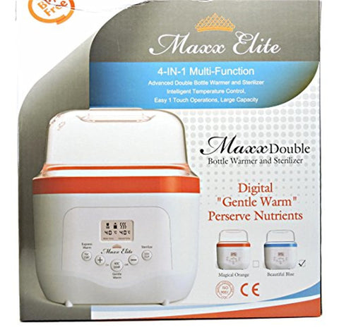Maxx Elite MaxxDouble Digital Double Bottle Warmer & Sterilizer (Magical Orange)