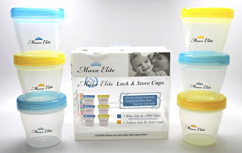 Maxx Elite Lock & Store Cups 5oz. Beautiful Blue / Sunshine Yellow 6pk.