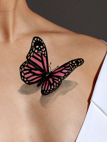 pink butterfly 3d tattoo. Black Bedroom Furniture Sets. Home Design Ideas