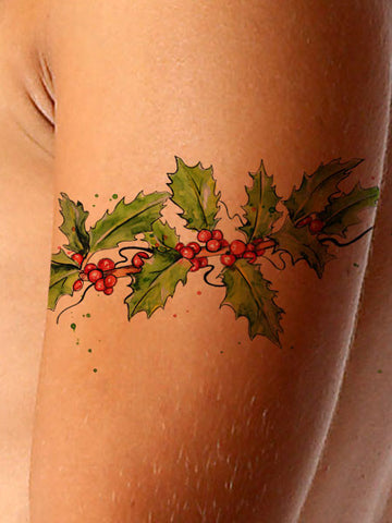Christmas Tattoo Hollyberrry - AsIfTattooed.com