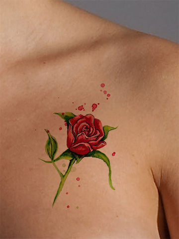 Red Rose Tattoo - AsIfTattooed.com
