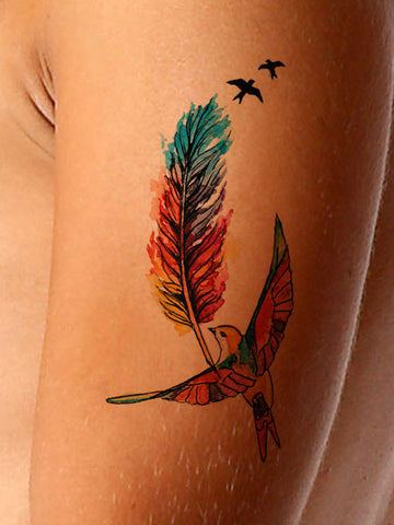 Flight Patterns Feather Tattoo - AsIfTattooed.com