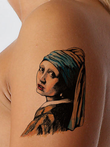 Pearl Earring Art Tattoo - AsIfTattooed.com