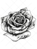 Music Rose Tattoo - AsIfTattooed.com