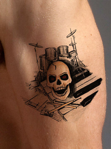 Wicked Drummer Cool Tattoo - AsIfTattooed.com