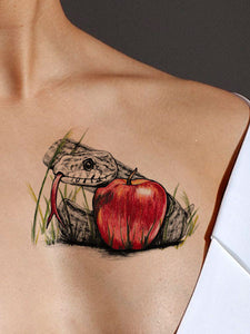 Apple & Snake Tattoo - AsIfTattooed.com