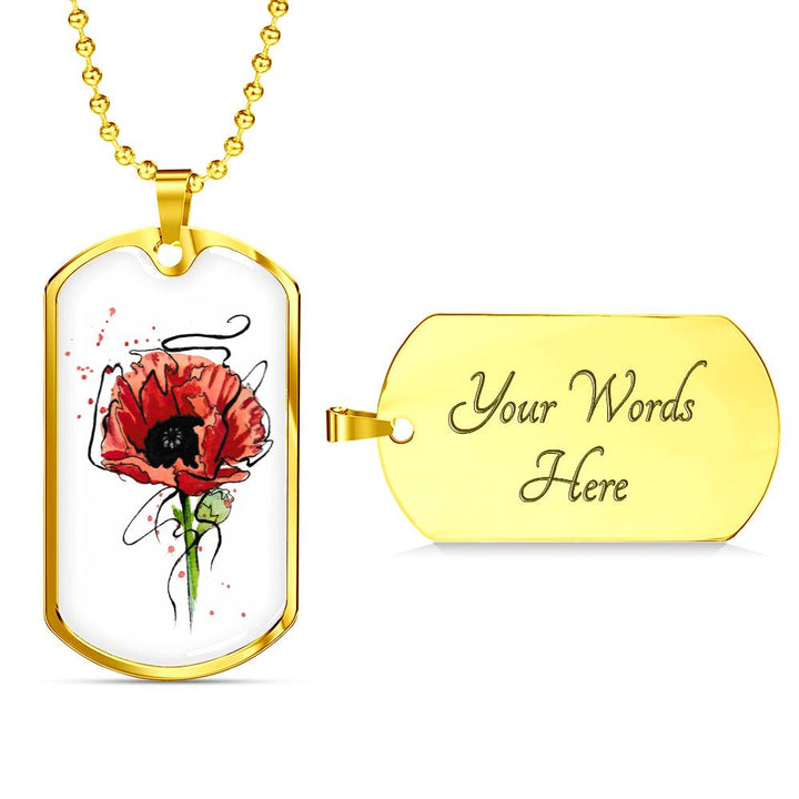 Luxury Dog Tag Poppy Necklace