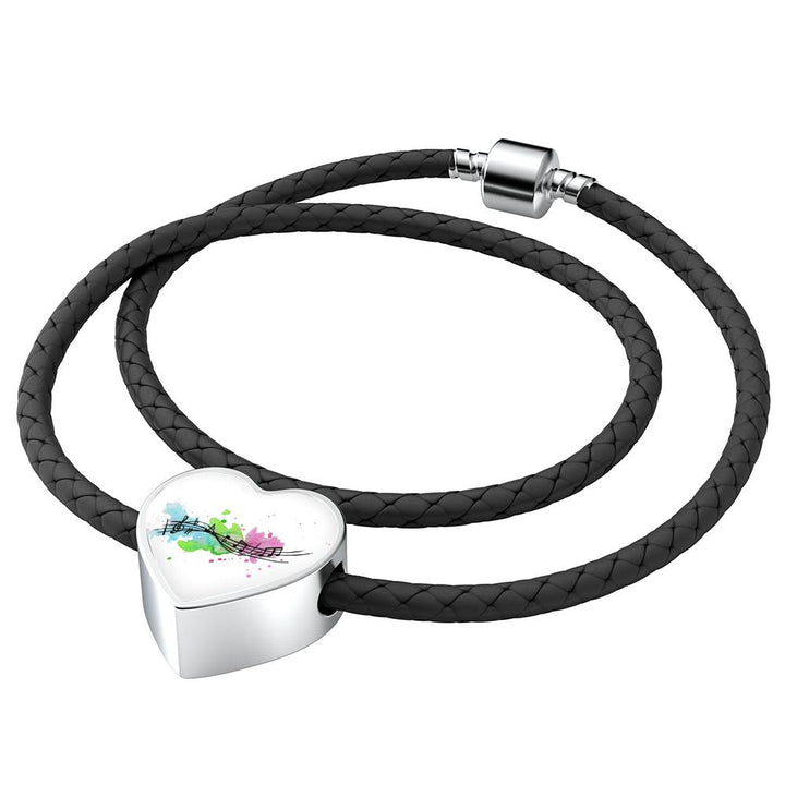 Melody Heart Charm-Double-wrapped Leather Bracelet