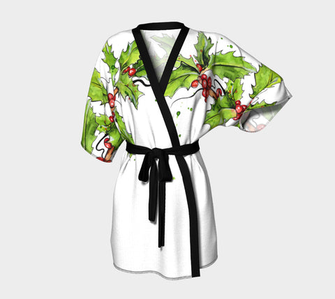 Christmas Holly Shoulder Robe White