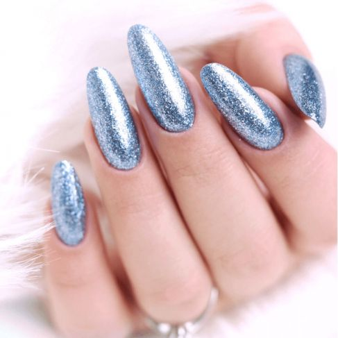 "255 SILVER BLUE - Semilac Soak Off Gel / Hybrid Nail Polish - ""Platinum"" Collection - SemilacUSA"