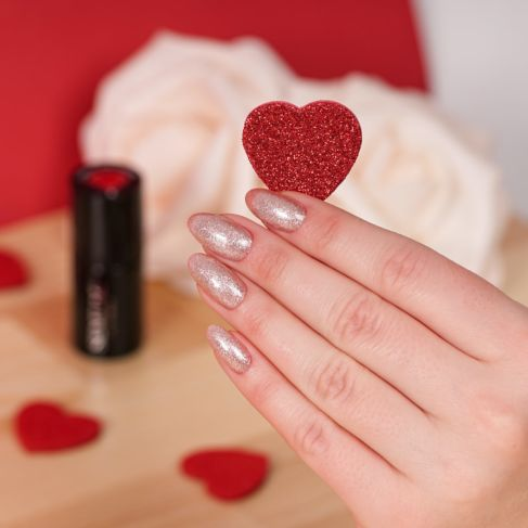 "349 DELICATE VANILLA GLITTER - Semilac Soak Off Gel / Hybrid Nail Polish - ""VALENTINE'S"" Collection"