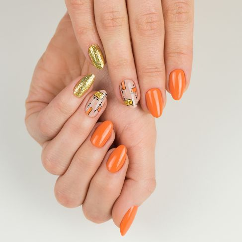 "528 ORANGE - Semilac Soak Off Gel / Hybrid Nail Polish - ""Legendary Six"" Collection - SemilacUSA"